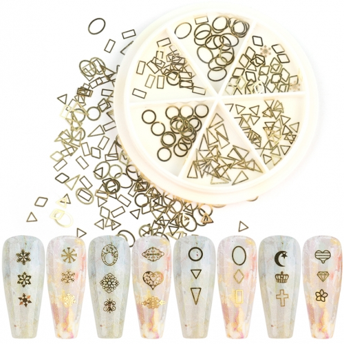 1Box 3D Nail Art Rhinestone Decorations Gold Strass Flower Star Moon Slices Hollow Design DIY Nail Manicure Accessories